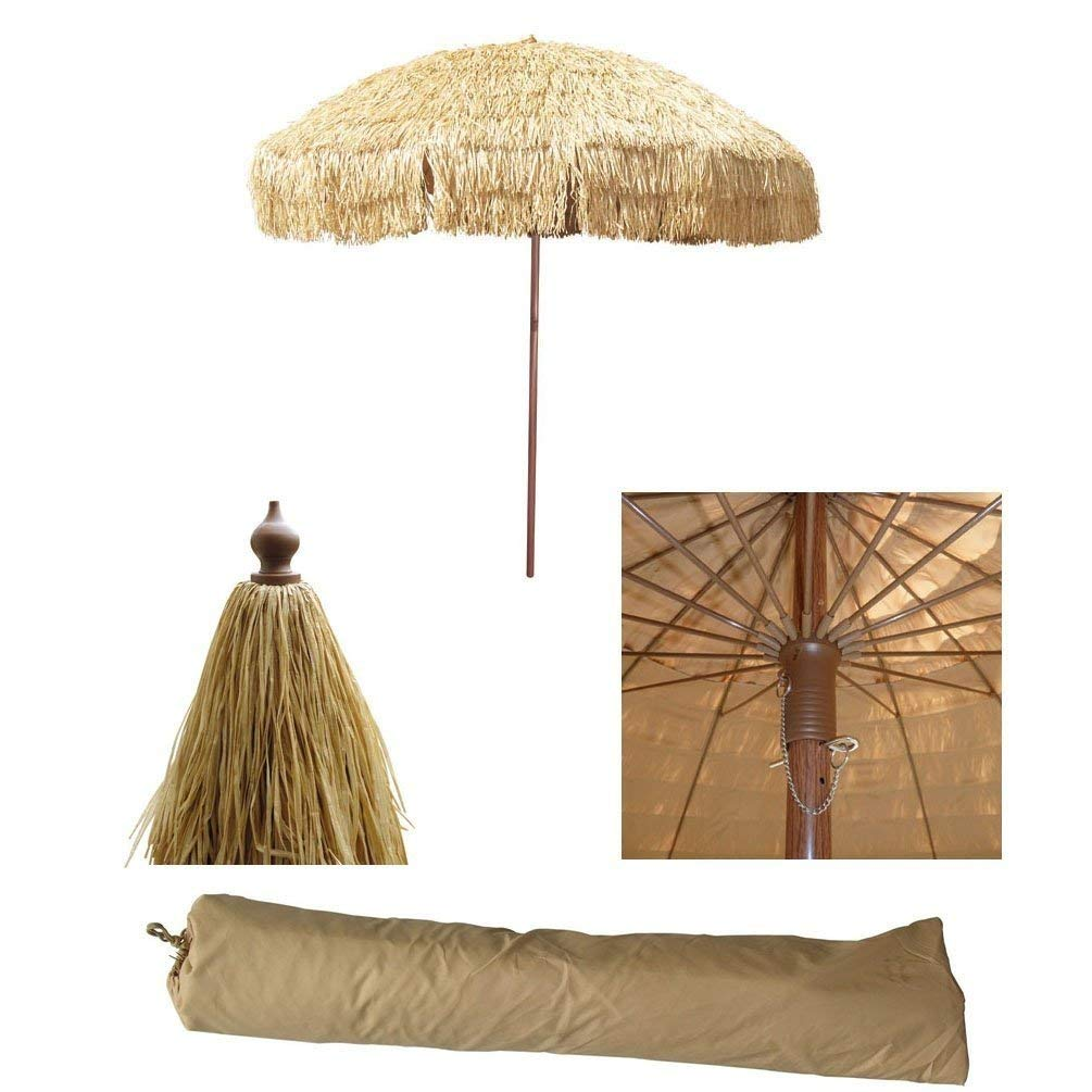 Get Quotations · Bayside 21 8 FT Tiki Umbrella Thatch Patio Umbrella  Hawaiian Style Sunshade Aluminum Pole 16