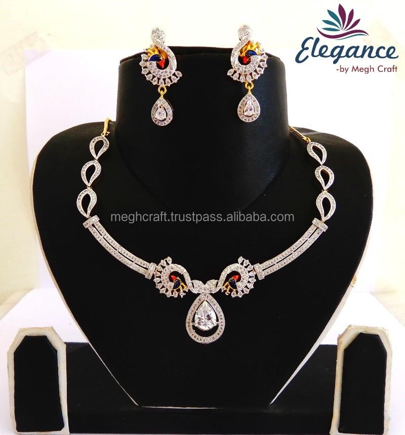 American Diamond Pendant Necklace Peacock Shape Set Imitation