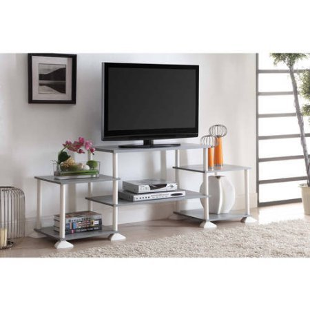 Mainstays 40 inches Contemporary Plasma/LCD TV Stand Entertainment Center Wood Composite and Plastic - Gray