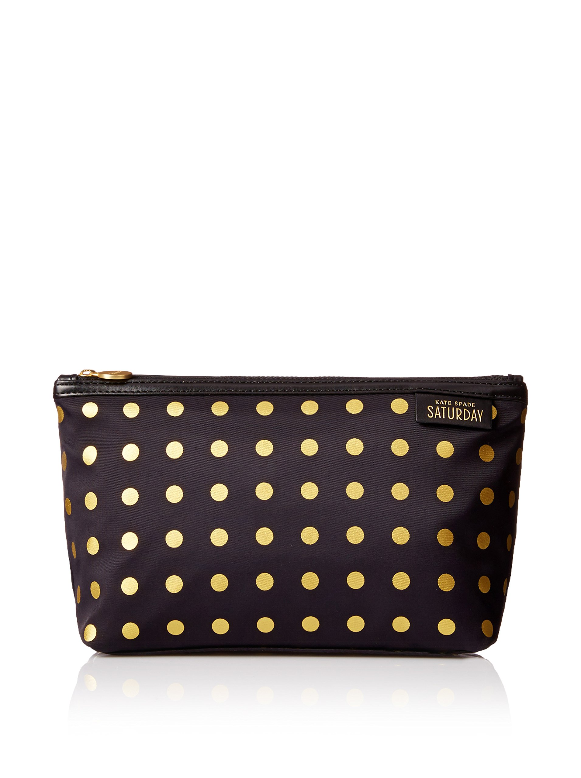 144310ea0161 Get Quotations · Kate Spade Saturday Black with Gold Dots Cosmetic and Toiletry  Bag