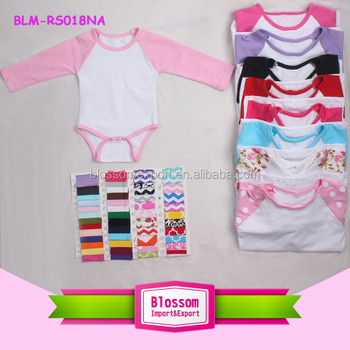 651aab1a0687 0-2 Years 100% Cotton Material blank infant rompers raglan multiple color  sleeve plain