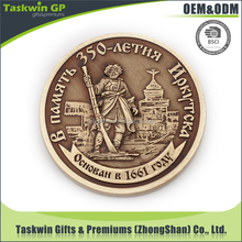 Promotional 3D/2D logo antique color plating iron stamped souvenir coin
