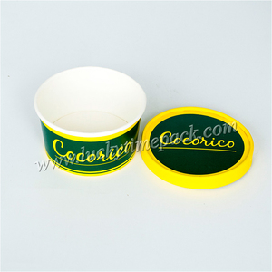 Custom printed 3oz squeeze paper ice cream cup with lid