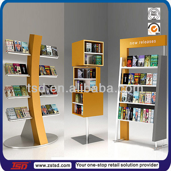 Tsd w165 Custom Book Store Floor Wooden Magazine Display StandMagazine RackWood