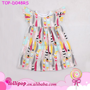 81a0270e7 Summer Design Latest Style Baby Girls Kids Pearl Dresses Cotton Knit Feather  Printed Fashion Flutter Sleeve