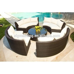 Spring special offer price black classic 5-pcs outdoor rattan curved sofas