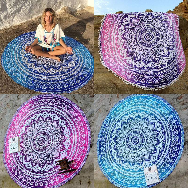 Retro Floral Hippie Boho Summer Beach Throw Towel Yoga Mat Decorative Wall Hanging Indian Mandala Tapestries Home Decor 143cm