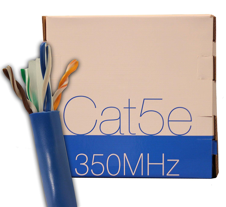 trueCABLE Cat5E Plenum (CMP), 1000ft, Blue, Bulk Ethernet Cable, 24AWG 4/PR, Unshielded Twisted Pair (UTP), Solid Bare Copper, 350 MHz, ETL Listed