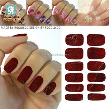 K5743200 Nail Art Designs Sexy Red Marble Stone Nail Wraps Sticker