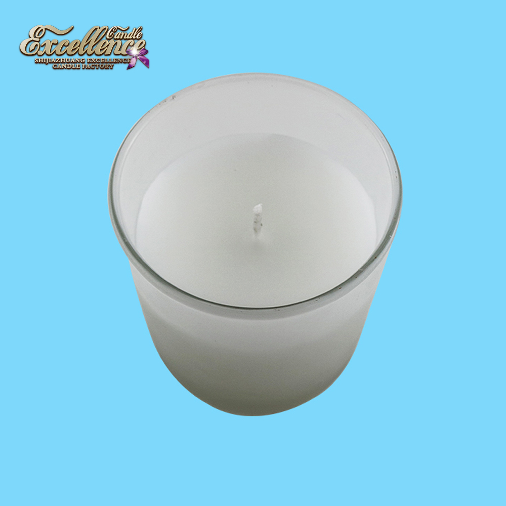 colored paraffin scented candle in frosted glass made in Chia