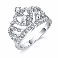 GT Fashion Luxury Silver Diamond Crown Princess Wedding Party Ring