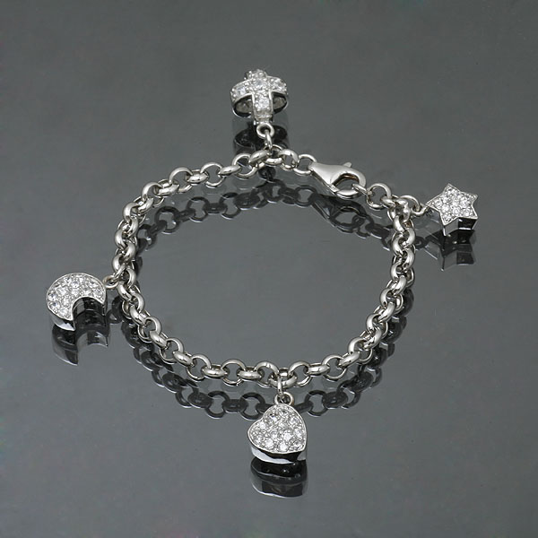 chain bracelet with zircon charm