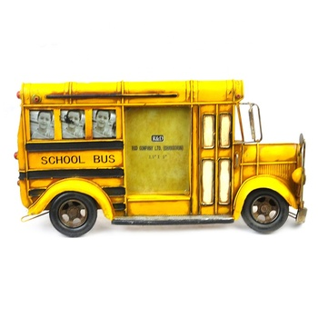Gaoyang Metal Handmade Crafts Bus Model School Bus Photo Frame Home Decor Ornaments Furnishing Articles(Yellow Color)