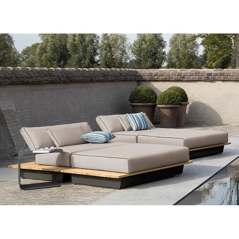 High quality beach chaise outdoor furniture garden solid teak wood leisure chair patio poolside sun lounger