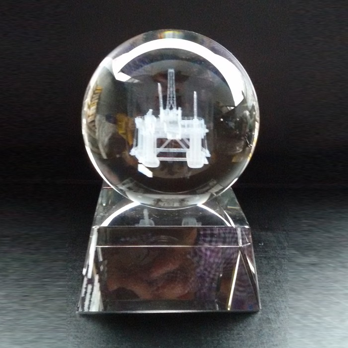 Custom Awards 120mm 3D Laser Engraving Crystal Globe