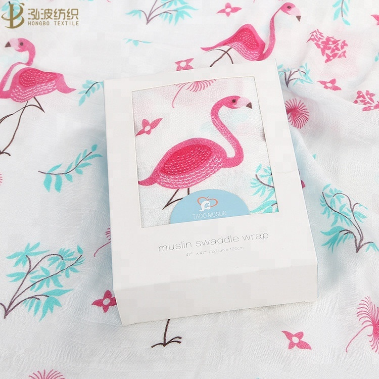 70% Bamboo and 30% Flamingo Design Cotton Muslin Softextile Blanket <strong>Baby</strong>