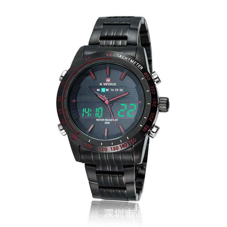 c00f922059c0a NAVIFORCE 9024 Luxo Marca Relógios Homens de Aço Completo Relógio de  Quartzo Analógico Digital LED Militar