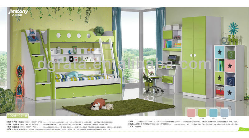 2014 latest green color children bunk bed in Innovative design for kids room is made by E1 MDF board and environmental paint