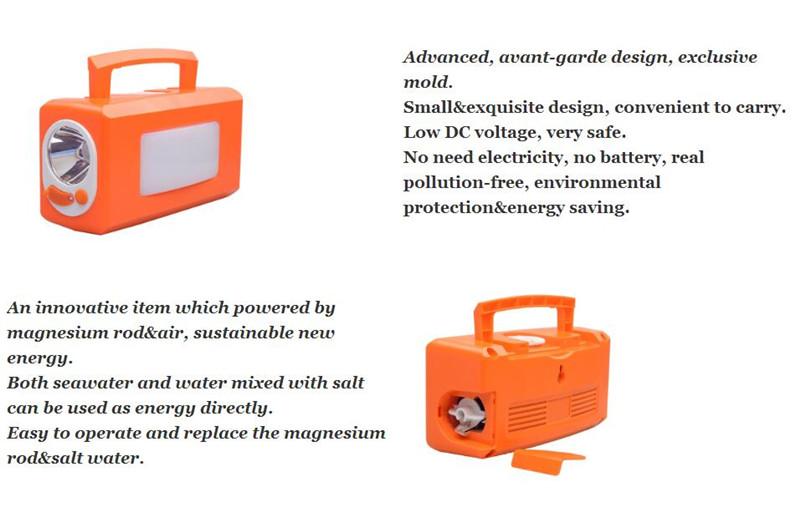 Power Reserve Emergency Led Lantern Runs On Saltwater Magnesium Air Battery  Salt Water Powered Led Lamp - Buy Magnesium Air Battery Light,Power