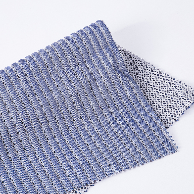Finely processed ICAS certificate professional polyester nylon stripe mesh fabric for shoe