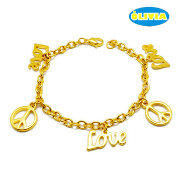 Olivia Women Saudi Gold Jewelry Love And Peace Charm Chain Wrap Bracelet Womens