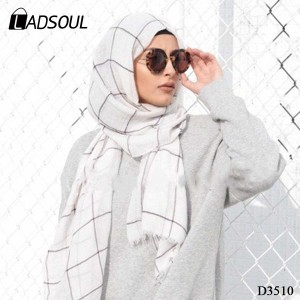Foreign Trade Summer New Islamic Female Long Cotton and Linen Lattice Sunscreen White Muslim Scarf Hijab