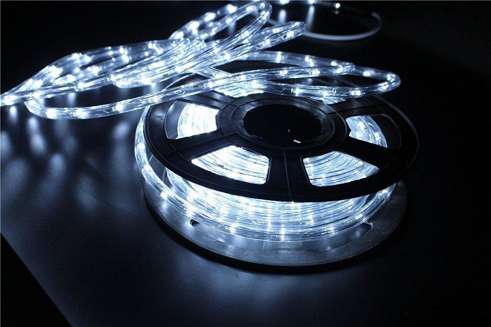 PYSICAL® 110V 2-Wire Waterproof LED Rope Light Kit for Background Lighting,Decorative Lighting,Outdoor Decorative Lighting,Christmas Lighting,Trees,Bridges,Eaves (26FT/8M, White)