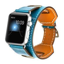 Роскошный классический Браслет-манжета для Apple Watch 42 мм 38 мм ремешок из натуральной кожи ремешок для iWatch 40 мм 44 мм ремешок серии 4 3 2 1(Китай)