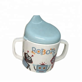 Eco-Friendly 2 Handles Kids Cartoon Print Melamine Sippy Cup with PP Lid