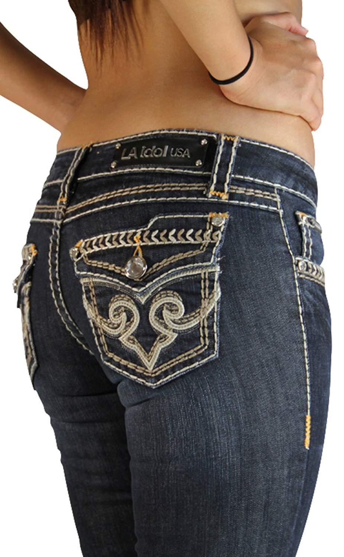 55b9394783a LA Idol Jeans - Big Bling Button Design