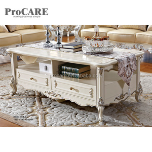 Luxury antique gold leaf wooden center table coffee table designs