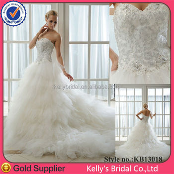 High Quality Factory Direct Trailing French Lace Appliqued Strapless Wedding Gown Models Sample Pictures