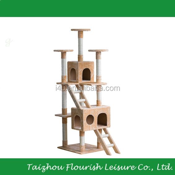 XinYou Beige Pet Cat Tree Condo Cat Furniture With Natural Sisal Rope