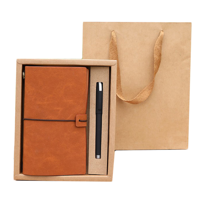 Eco friendly custom brand name expensive gift notebook red leather hardcover notebook with pen