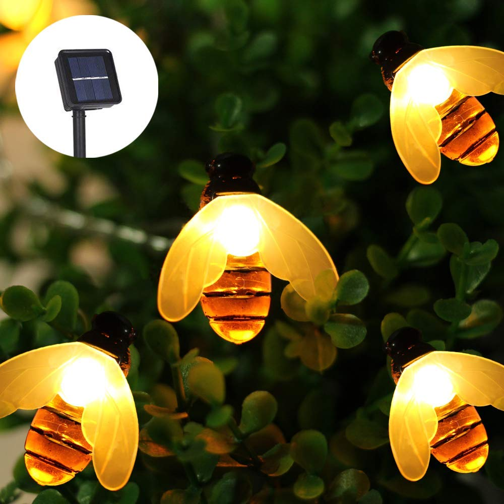 Moko Solar Powered String Lights Outdoor Warm White 19.6ft 30 LED Honey Bee Fairy Light Waterproof for Garden Decoration Patio Grass Lawn Tree Flower Fence