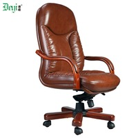 genuine leather high back manager wooden base office chair leather