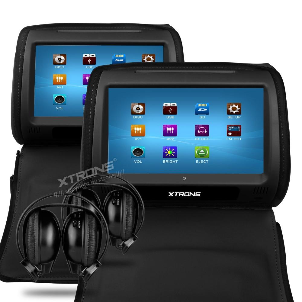"""XTRONS Black 2X Car Headrest DVD Player 9"""" Touch Screen"""