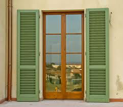 French door wooden shutter