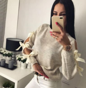 New Long sleeve Bow Hollow out Sweater Loose O-Neck Tops Blouse for women Warm Knitting Pullover Knitwear