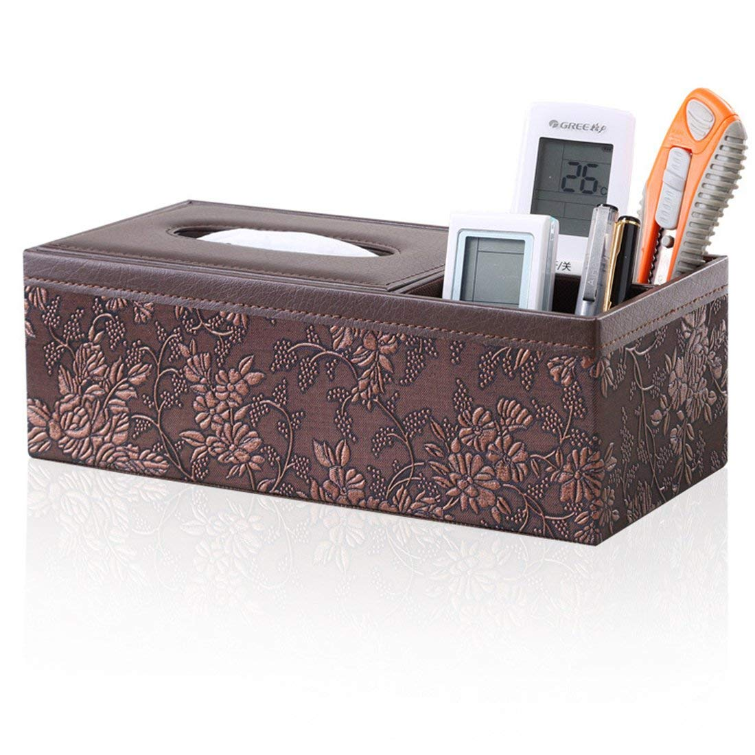 Zubita Tissue Box, Multi-Functional Tissue Napkin Paper Box PU Leather Wooden Fabrics Pens Pencils Phone Holder Tissue Cover Case for Home Office Desk Car Decoration Image Retro Carving (Brown)