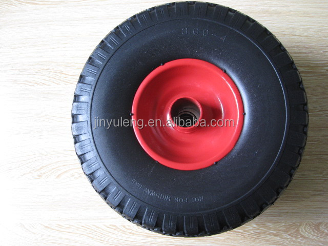 10 inch 3.00-4 (260X85) Pneumatic rubber wheel pu foam solid wheel with plastic rim and steel rim for trailer tool cart wagon