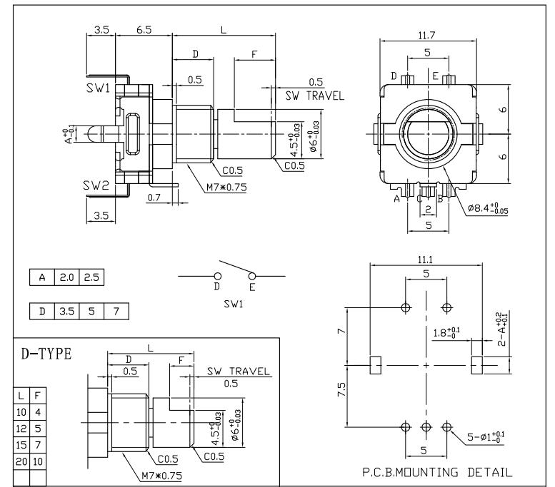 5 unidades de codificador giratorio con interruptor EC11 Audio Digital Potenci/ómetro 20 mm Mango