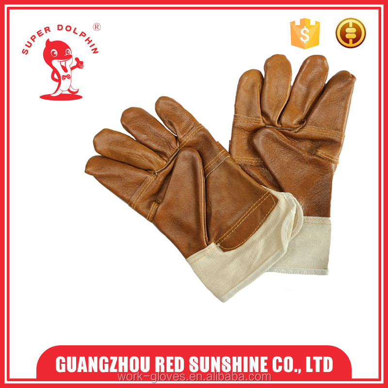 Natural cow leather chemical resistant work gloves