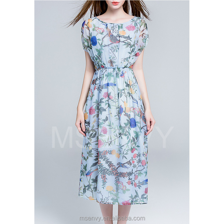 floral digital printed Silk chiffon maxi dress