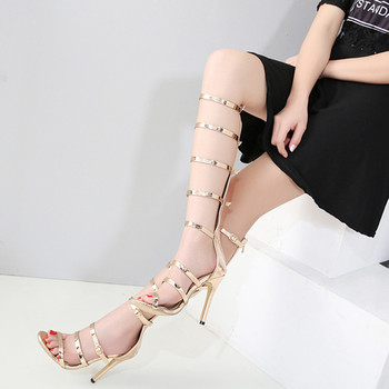 09340e2875eb8 cheelon shoe 2018 summer knee high gladiator boots high heel simple sandals  women gold color