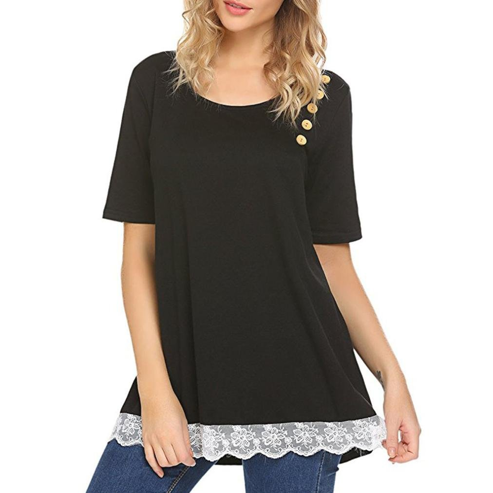 d9f6773f15 Get Quotations · FAPIZI Womens Blouse Clearance Women Lace Stitching Button  T-Shirt Hot Sale Short Sleeve Loose