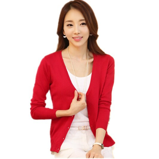 Free Shipping Korean Women's Cutout Candy Color Knitted Cardigan ,Short Design V-Neck Slim Sweaters ,Large Size Clothing