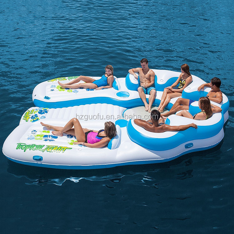 Customized Huge PVC Inflatable Lake River Float Island For Adults Water Party