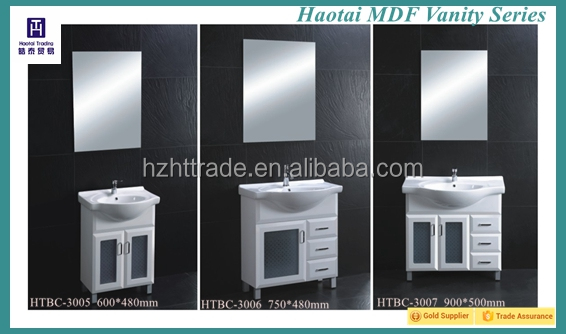 23 inch 600mm MDF frosted glass door modern bathroom cabinet vanity