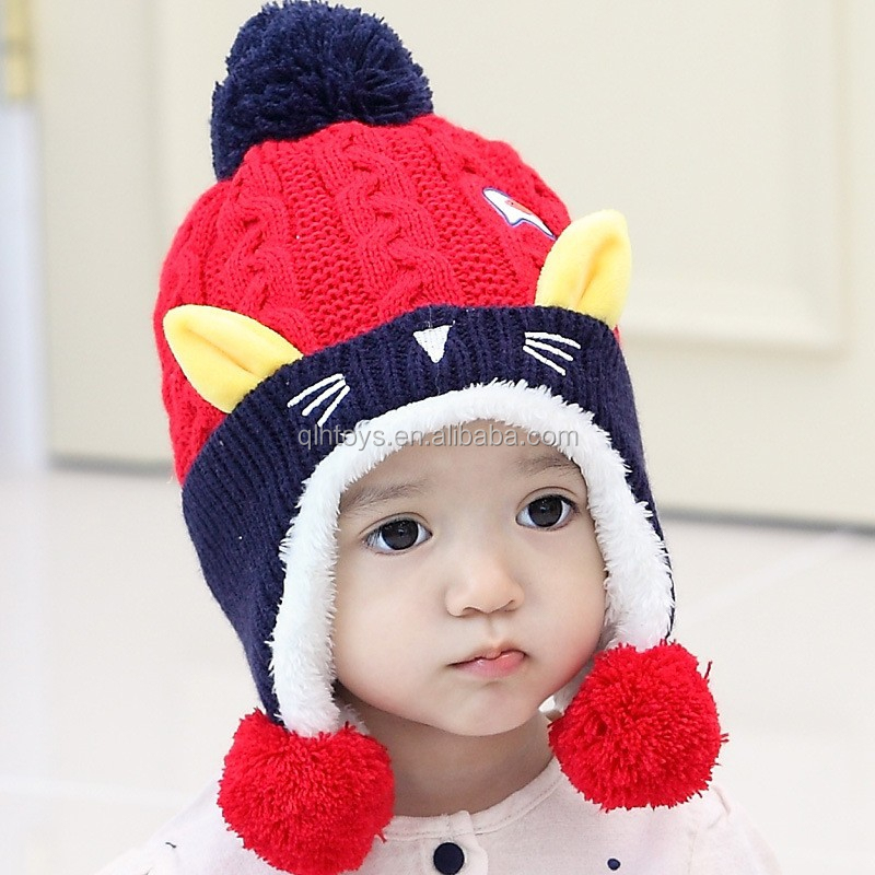 Straightforward Cute Baby Winter Hat Warm Child Beanie Cap Animal Cat Ear Kids Crochet Knitted Hat For Children Boys Girls Hot New Apparel Accessories Girl's Accessories